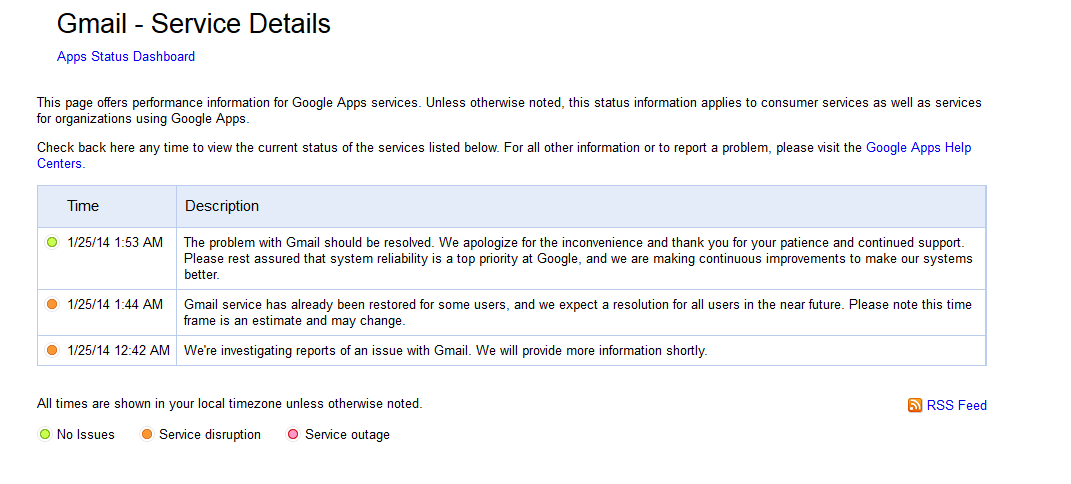 Gmail and Other Google Services out of the Air